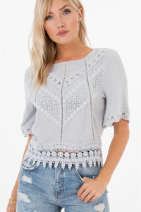 Gracie Crotchet Lace Top - White Crow