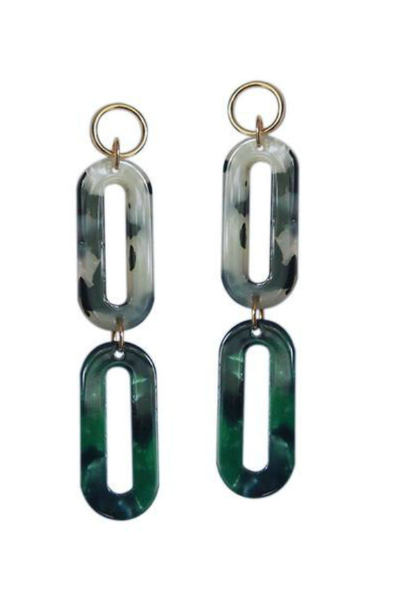 Green + White Lucite Double Ovals Statement Earrings | Strut Jewelry