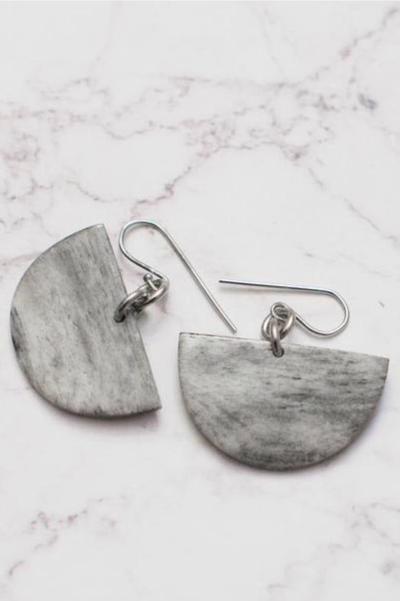 Half Moon Grey Earrings | Just One