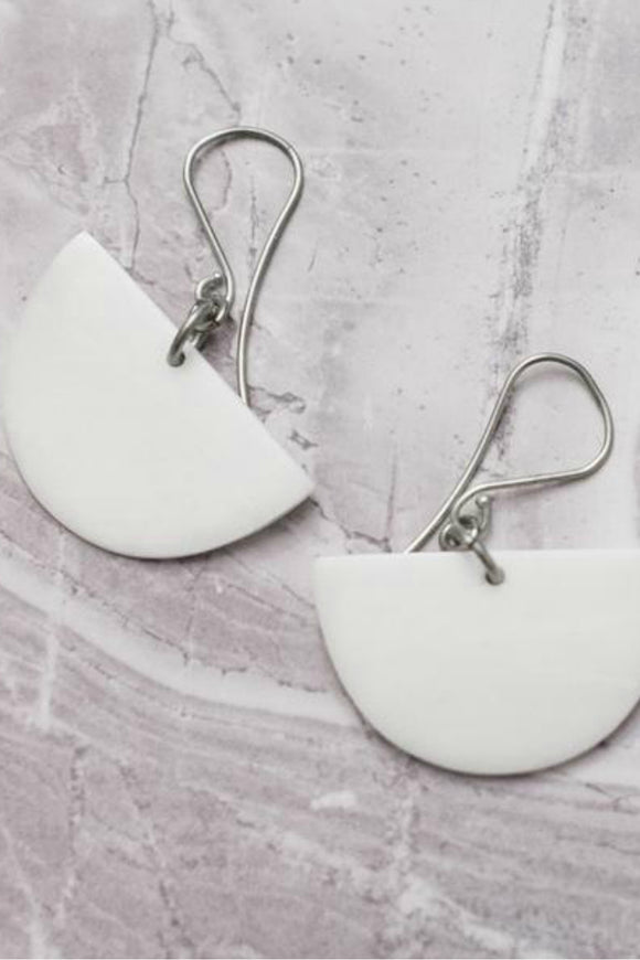 Half Moon White Earrings | Just One