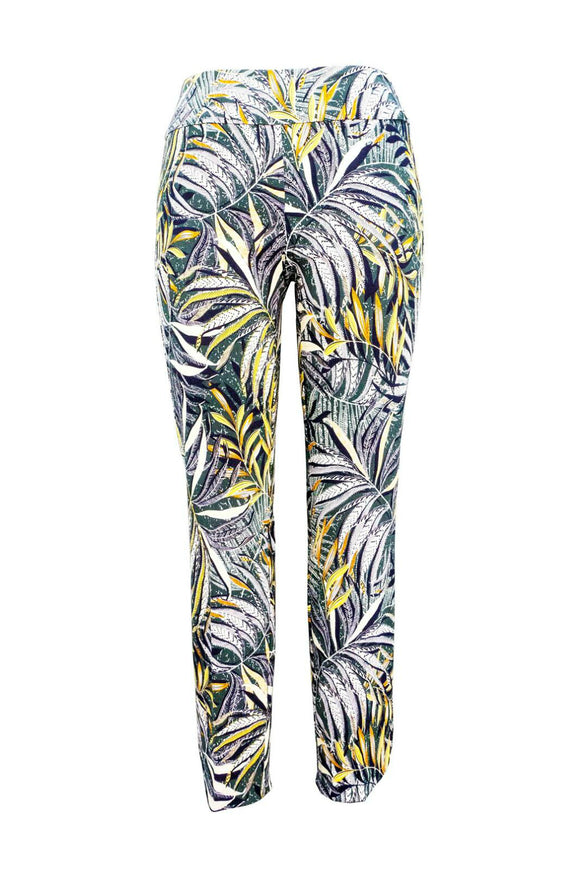 Up pull-on trouser with hawaii print.