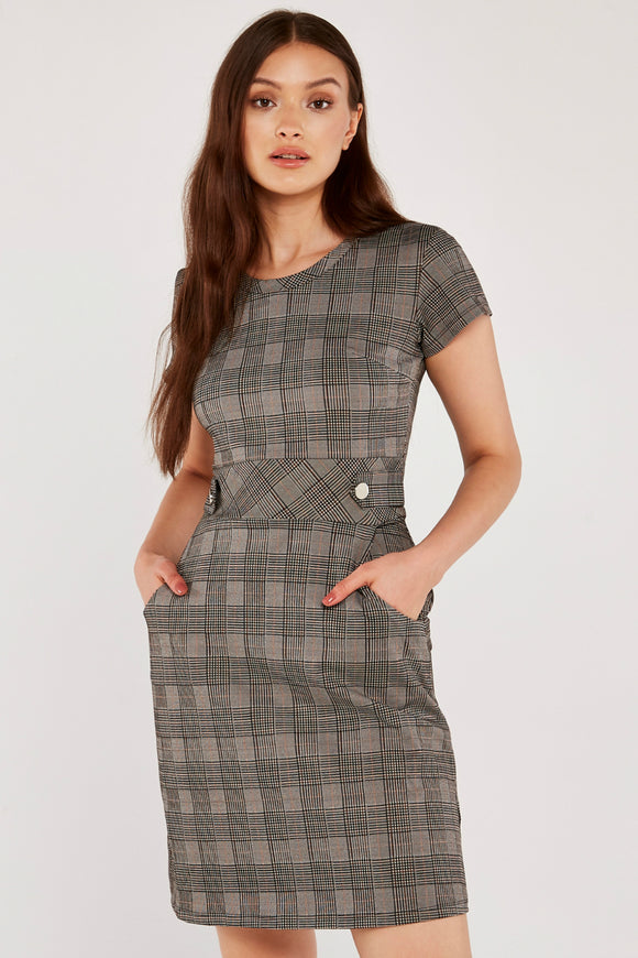 Black Heritage Check Jacquard Dress | Apricot