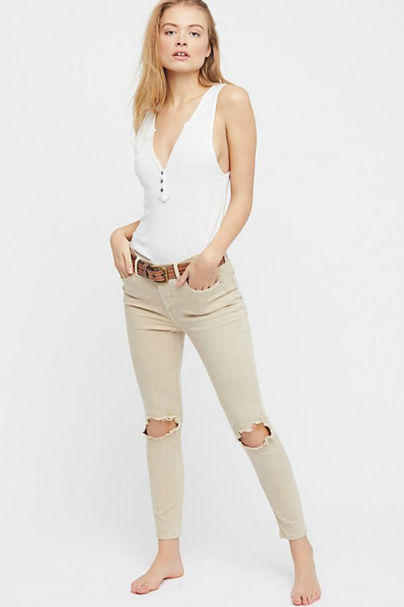 High-Rise Busted Skinny Jeans | Free People