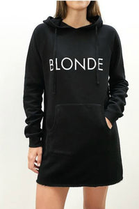 The Hoodie Dress - BLACK/BLONDE - Black Hooded Sweatshirt - Women Winter Wear - By Brunette the label - Jolie Folie