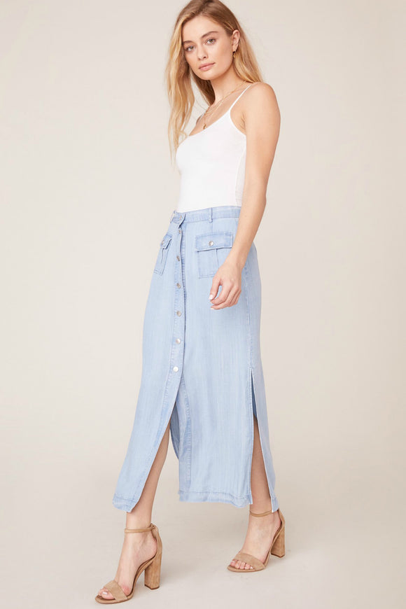 Chambray button up midi skirt by bb dakota