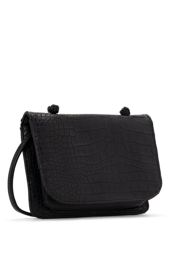 Jamie Croco Crossbody Carryall - Black | Colab