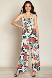 Tropical Flower Print Jumpsuit | Yumi