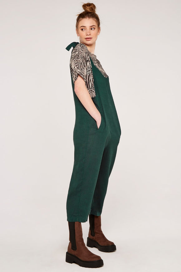 Tie Shoulder Jumpsuit - Green | Apricot