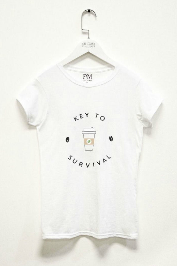 Key To Survival White Tee | Pink Martini