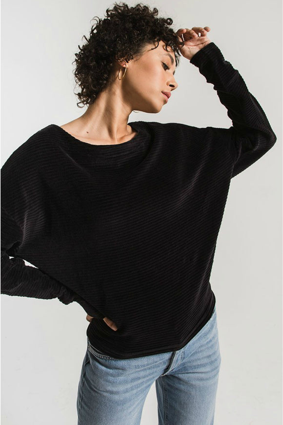 z supply black sweater. jolie folie boutique
