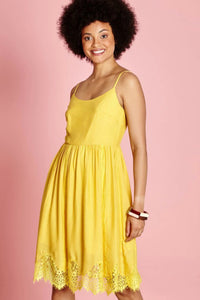 Yellow Lace Trim Dress | Yumi