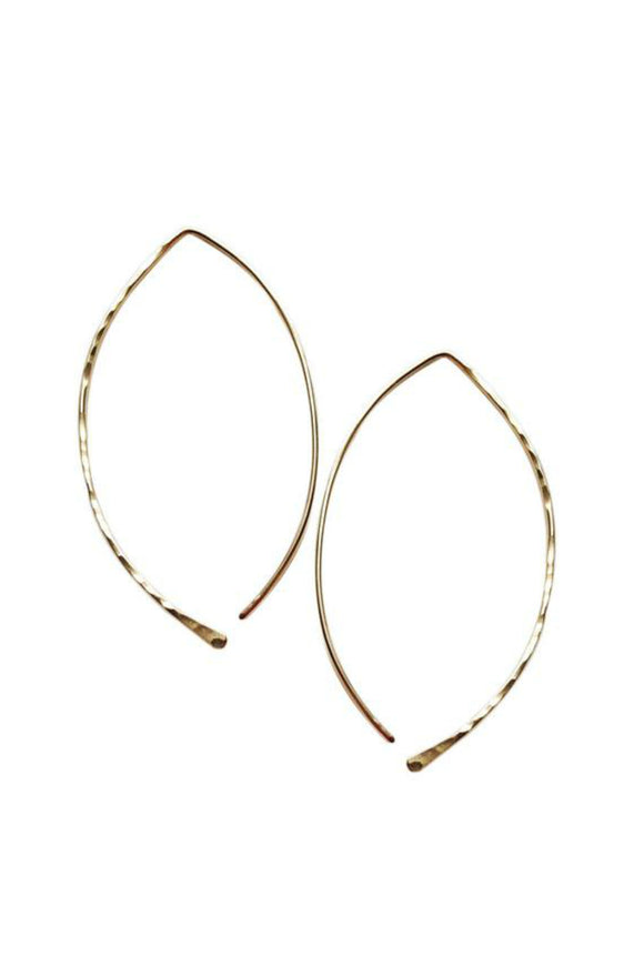 Gold-fill Hammered Hoops - leaf