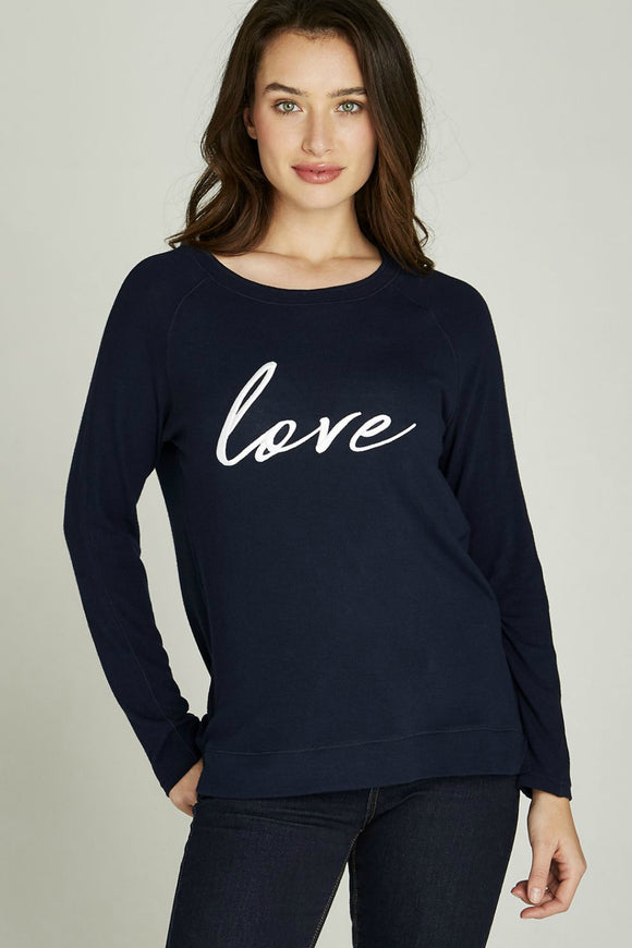 Navy Embroidered Love Jumper | Apricot