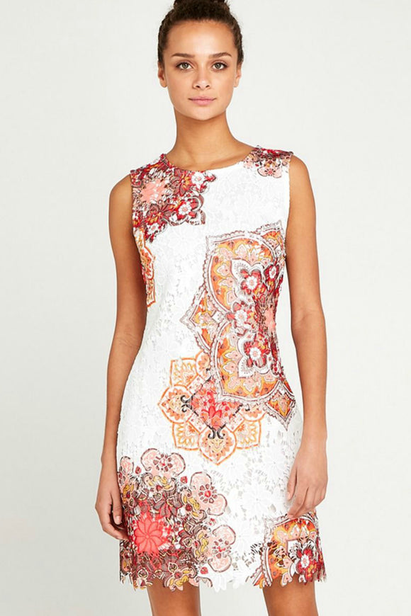 Mandala Lace Shift Dress | Apricot