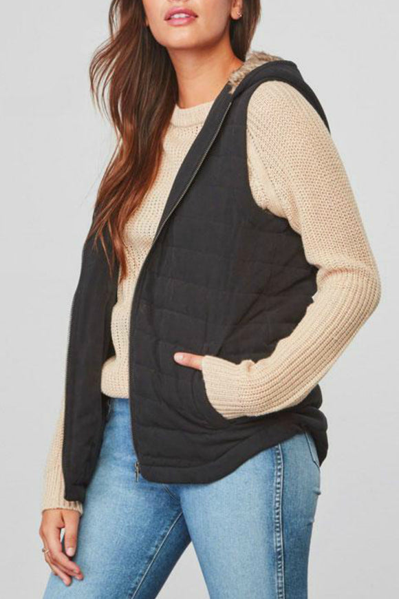 Meiker Fur Hooded Vest