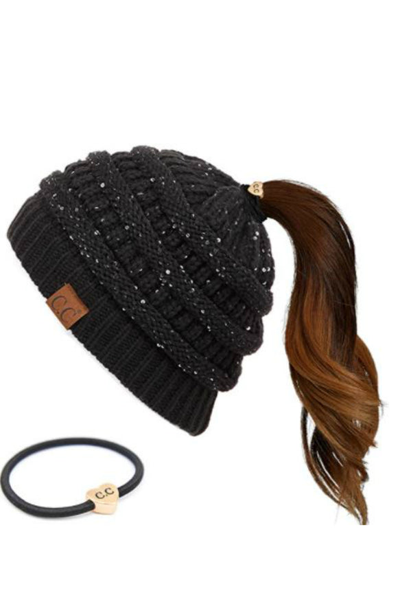 messy buns sequins hat by cc beanie