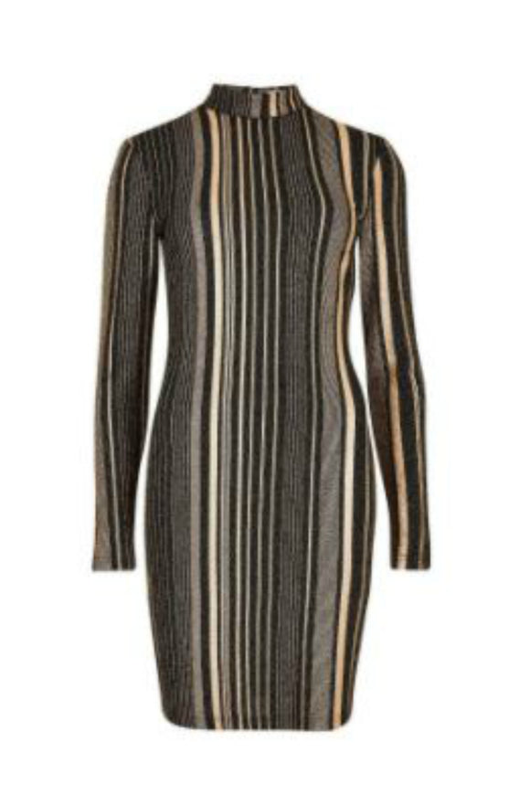 Metallic Stripe Mock Dress | Apricot