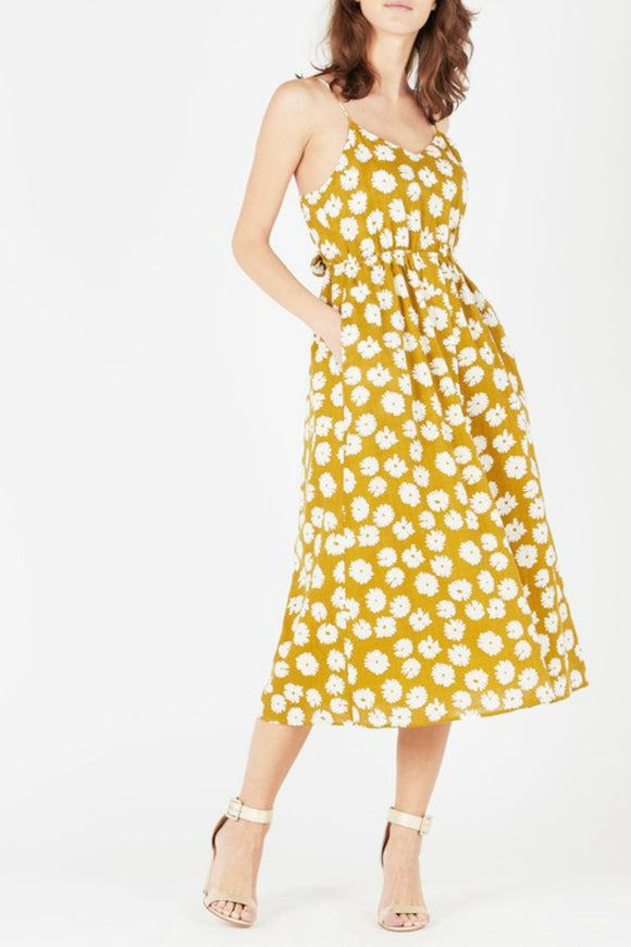 Yellow casual midi dress by The Korner