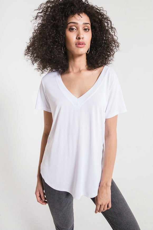 The Luxe Modal V-neck White Tee | Z Supply