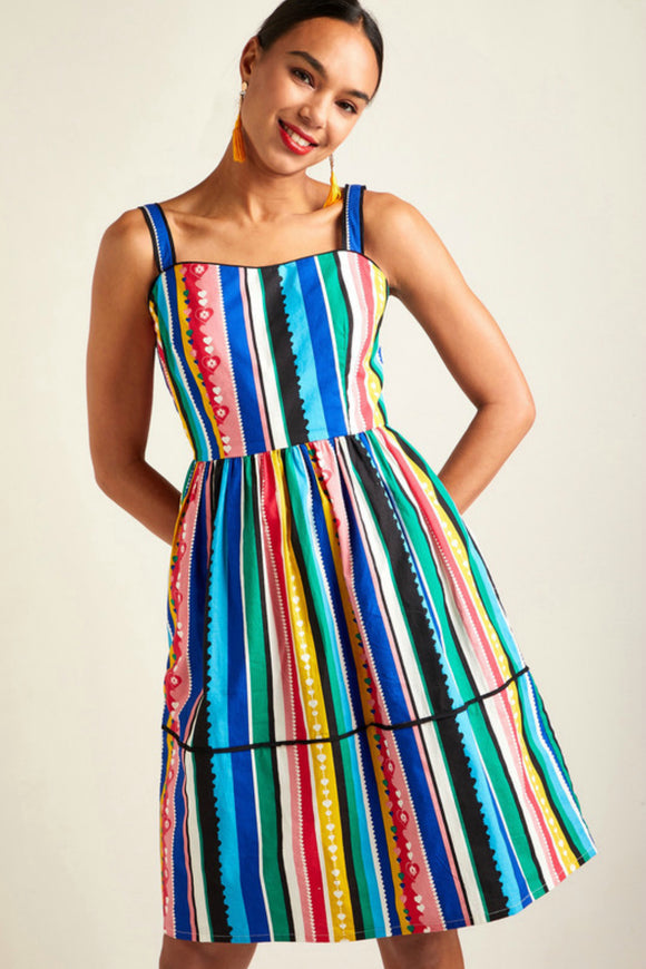 Multi Stripe Print Sun Dress | Yumi