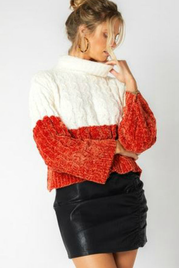 color block red and white Cable knit sweater by minkpink