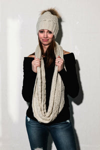 Beige Toque With Genuine Fur and Matching Scarf | Tom & Eva