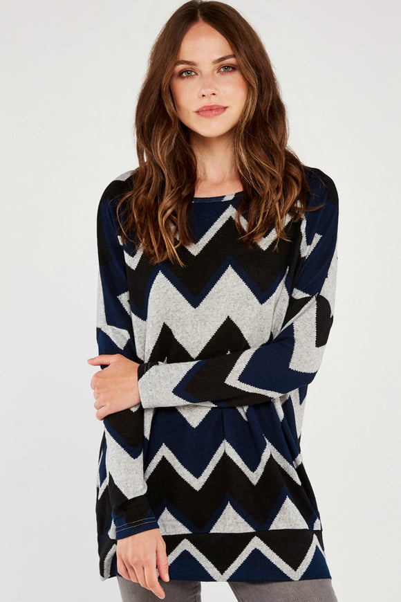 Chevron Oversize Sweater | Apricot