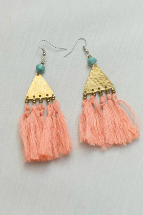 Brass and Tassel Coral Earrings | Just One