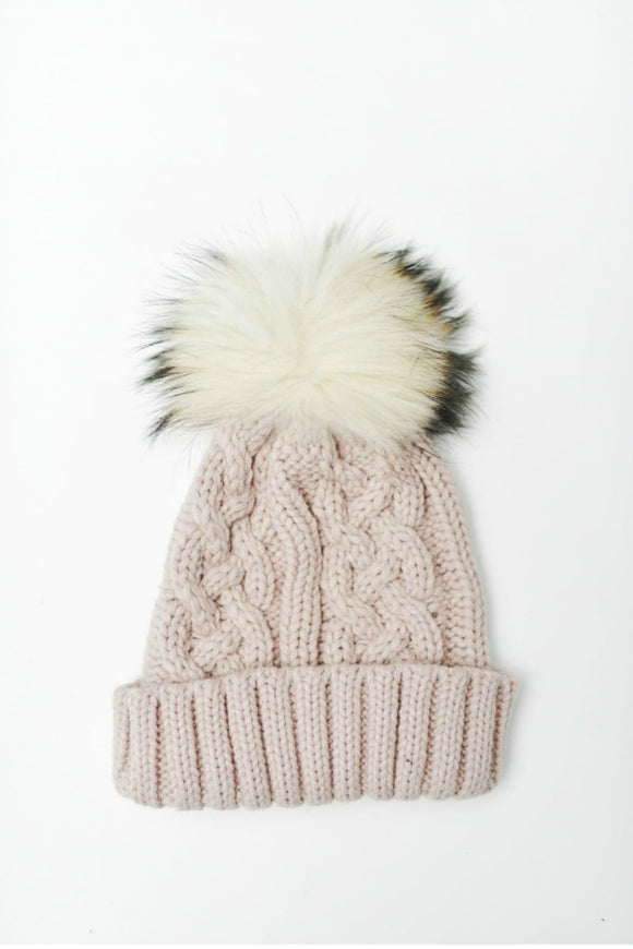 Blush Cable Knit Toque | Tom & Eva