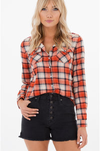 Old Fashion Embroidered Plaid Shirt