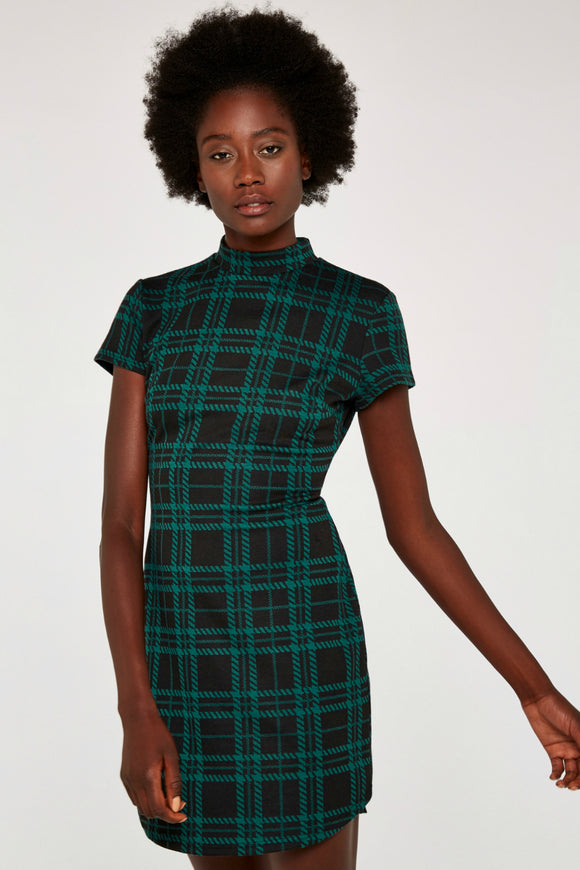Plaid Knit Jacquard Dress | Apricot