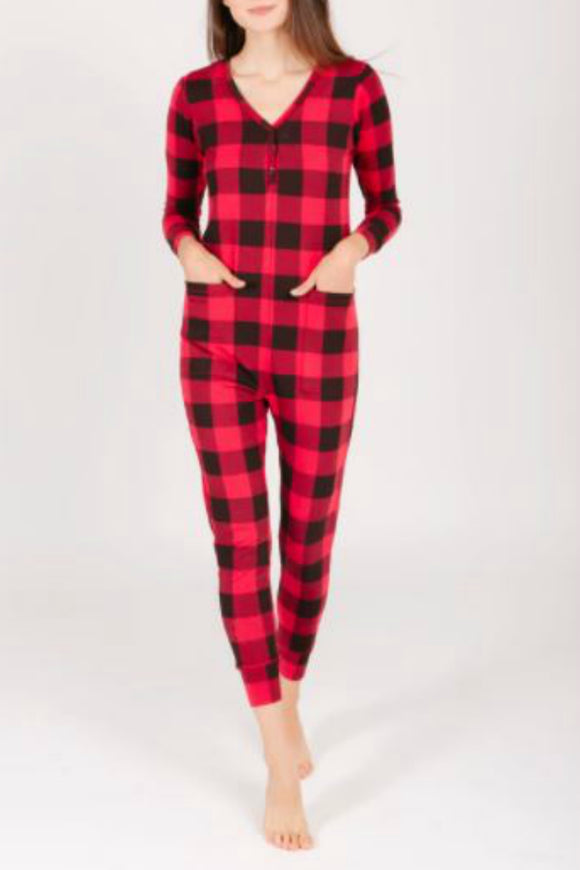 Present Romper In Poinsettia Plaid | Smash + Tess