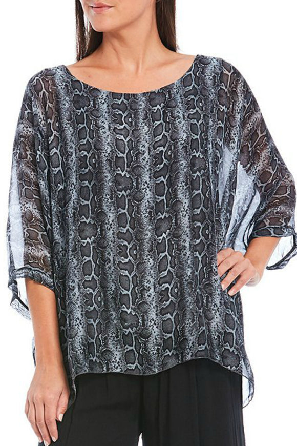 Animal Print Silk Blend Poncho | M Italy