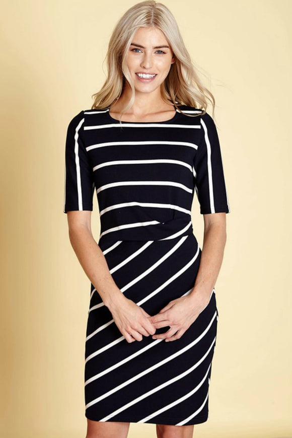 Ponte Stripe Bodycon Dress | Yumi