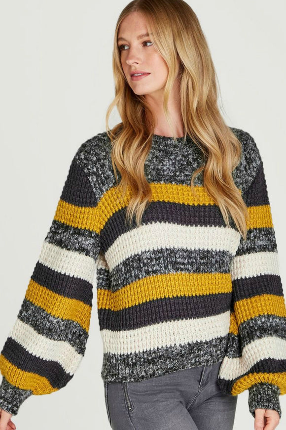 Bold Striped Puff Sleeve Jumper | Apricot