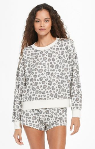 elle brushed slub leopard pullover by z supply