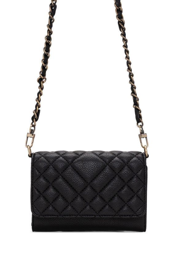 Quilted Crossbody Wallet - Black | Colab