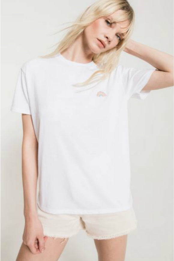 womens white graphic tee with rainbow