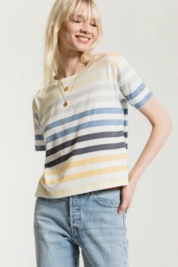Z supply rainbow stripe crew tee. Jolie folie boutique