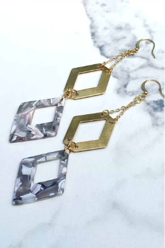 REMI - Acrylic and Brass Earrings | Frug