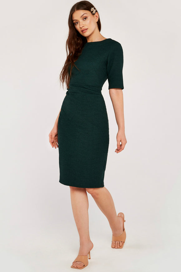 Green Ruched Side Fitted Dress | Apricot