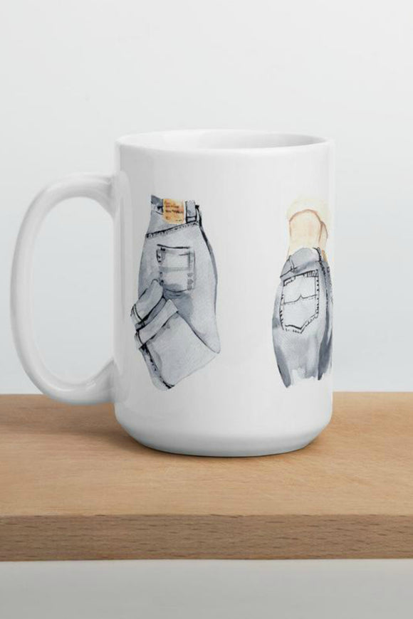 Running on Caffeine and Ripped Jeans Mug | Casey Snyder Design