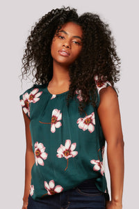 satin floral print top by apricot