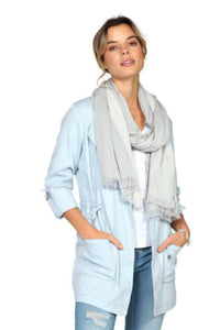 Womens lightweight scarf in grey tones for spring and summer. Jolie folie boutique