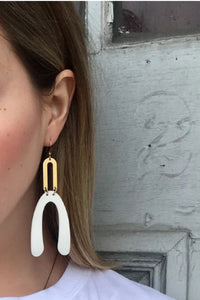 SHANE - Abstract Lucite Earrings - White | Frug