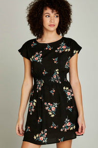 Floral Bunches Shirred Waist Dress | Apricot
