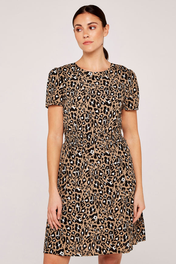 Stone Shirred Waist Animal Print Dress | Apricot