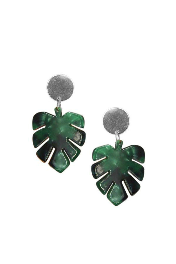 Monstera Leaf Statement Earrings - Foliage Green | Strut Jewelry