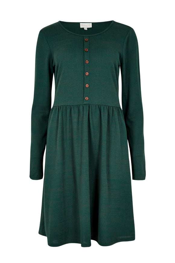 Button Down Skater Dress - Pine | Apricot
