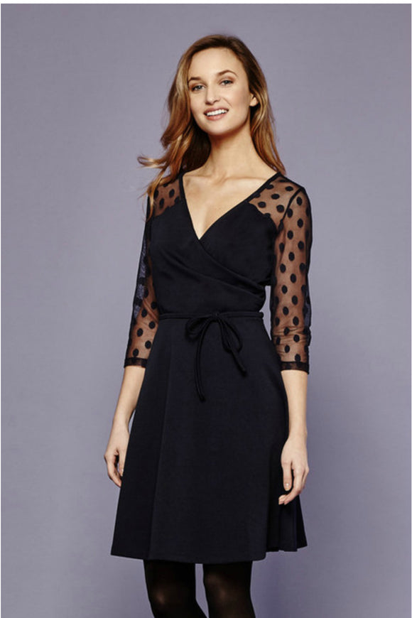 Spot Mesh Wrap Ponte Dress - Yumi